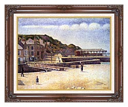 Georges Seurat Port En Bessin canvas with dark regal wood frame