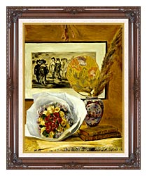 Pierre Auguste Renoir Still Life With Bouquet canvas with dark regal wood frame