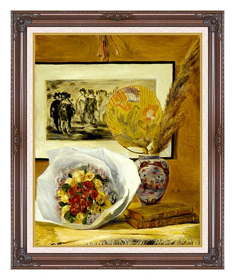 Pierre Auguste Renoir Still Life with Bouquet with Dark Regal Frame w/Liner