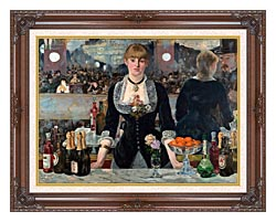 Edouard Manet A Bar At The Folies Bergere canvas with dark regal wood frame