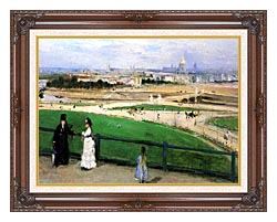 Berthe Morisot View Of Paris From The Trocadero canvas with dark regal wood frame
