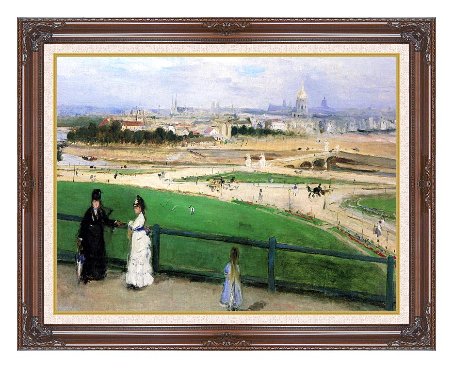 Berthe Morisot View of Paris from the Trocadero with Dark Regal Frame w/Liner