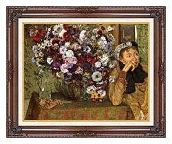 Edgar Degas Woman With Chrysanthemums canvas with dark regal wood frame