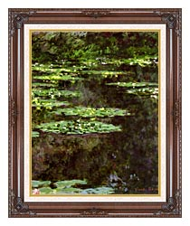 Claude Monet Water Lilies 1904 Portrait Detail canvas with dark regal wood frame