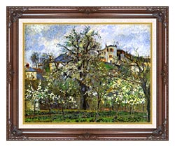 Camille Pissarro Kitchen Garden And Flowering Trees Spring Pontoise canvas with dark regal wood frame