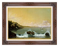 Martin Johnson Heade Rio De Janeiro Bay Left Detail canvas with dark regal wood frame