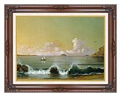 Martin Johnson Heade Rio De Janeiro Bay Right Detail canvas with dark regal wood frame