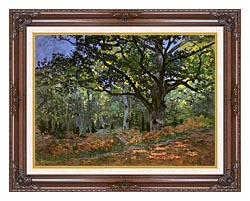 Claude Monet The Bodmer Oak Forest Of Fontainebleau canvas with dark regal wood frame