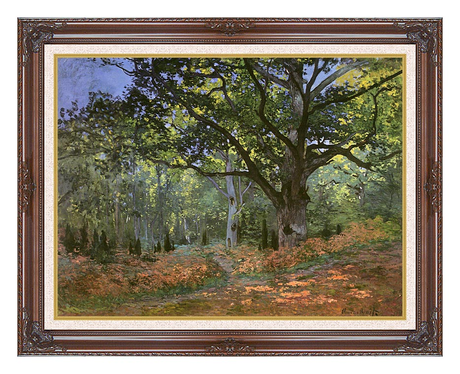 Claude Monet The Bodmer Oak, Forest of Fontainebleau with Dark Regal Frame w/Liner