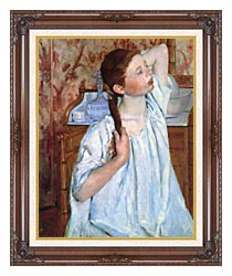 Mary Cassatt Girl Arranging Her Hair canvas with dark regal wood frame