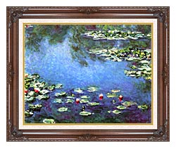 Claude Monet Water Lilies 1906 Detail canvas with dark regal wood frame
