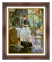 Berthe Morisot In The Dining Room canvas with dark regal wood frame