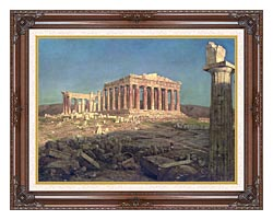 Frederic Edwin Church The Parthenon Detail canvas with dark regal wood frame