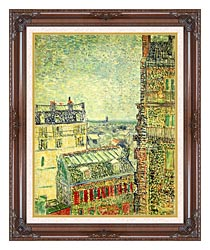 Vincent Van Gogh Paris Seen From Vincents Room In The Rue Lepic canvas with dark regal wood frame