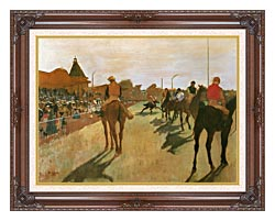 Edgar Degas Racehorses Before The Stands canvas with dark regal wood frame