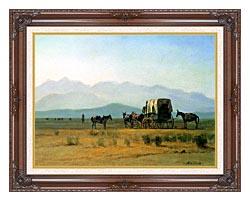 Albert Bierstadt Surveyors Wagon In The Rockies canvas with dark regal wood frame