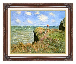 Claude Monet Walk On The Cliff At Pourville canvas with dark regal wood frame