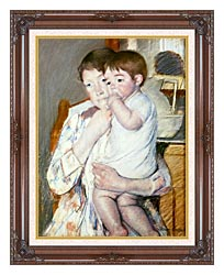 Mary Cassatt Baby On His Mothers Arm canvas with dark regal wood frame