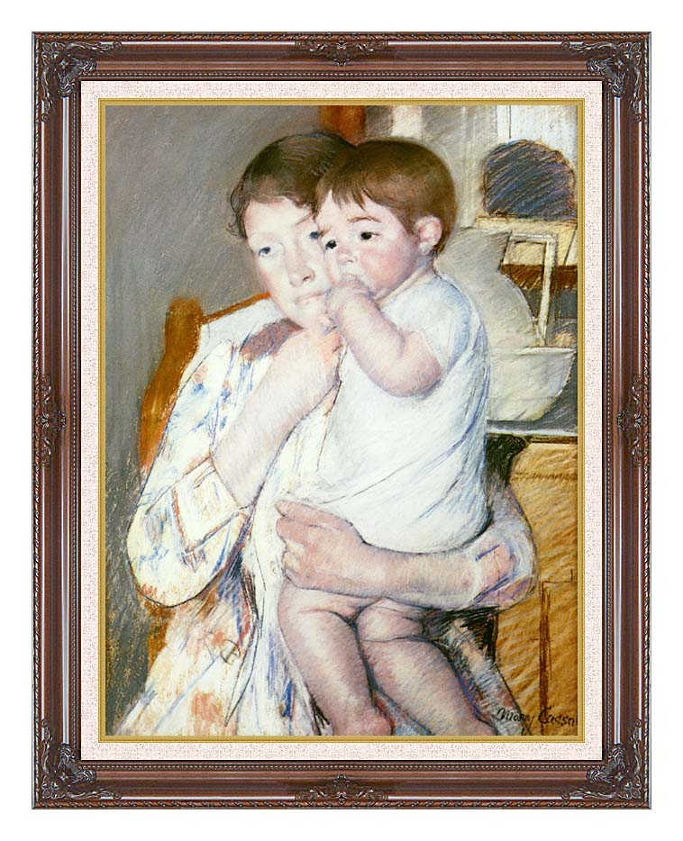 Mary Cassatt Baby on His Mother's Arm with Dark Regal Frame w/Liner