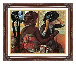 Edgar Degas At The Milliners canvas with dark regal wood frame