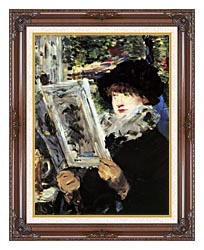 Edouard Manet The Reader canvas with dark regal wood frame
