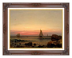 Martin Johnson Heade Sailing Off The Coast Detail canvas with dark regal wood frame