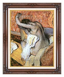 Edgar Degas After The Bath Woman Drying Herself canvas with dark regal wood frame
