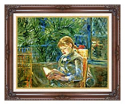 Berthe Morisot Little Girl Reading canvas with dark regal wood frame