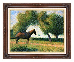 Georges Seurat Horse canvas with dark regal wood frame