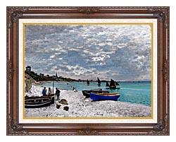 Claude Monet Beach At Sainte Adresse canvas with dark regal wood frame