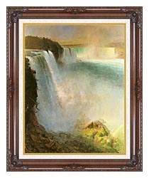 Frederic Edwin Church Niagara Falls From The American Side canvas with dark regal wood frame