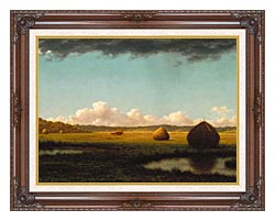 Martin Johnson Heade Summer Showers Detail canvas with dark regal wood frame