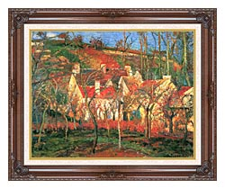Camille Pissarro The Red Roofs canvas with dark regal wood frame