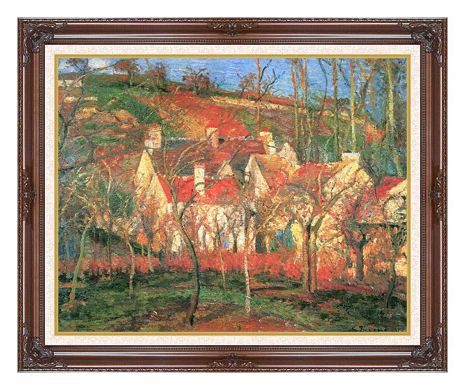 Camille Pissarro The Red Roofs with Dark Regal Frame w/Liner