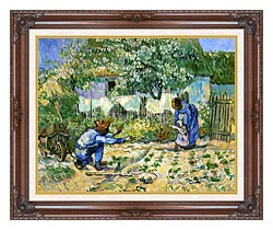 Vincent Van Gogh First Steps canvas with dark regal wood frame