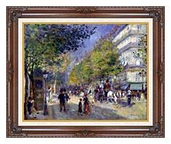 Pierre Auguste Renoir The Great Boulevards canvas with dark regal wood frame