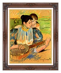 Mary Cassatt The Banjo Lesson canvas with dark regal wood frame