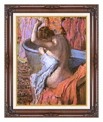 Edgar Degas Seated Bather Drying Herself canvas with dark regal wood frame