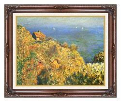 Claude Monet The Fishermans House Varengeville canvas with dark regal wood frame