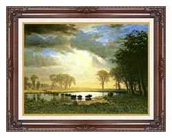 Albert Bierstadt The Buffalo Trail canvas with dark regal wood frame