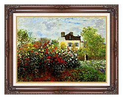 Claude Monet Monets Garden At Argenteuil canvas with dark regal wood frame