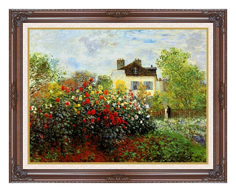 Claude Monet Monet's Garden at Argenteuil with Dark Regal Frame w/Liner
