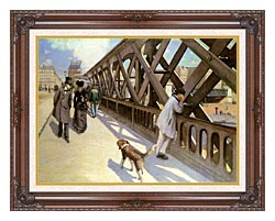 Gustave Caillebotte Le Pont De Leurope canvas with dark regal wood frame