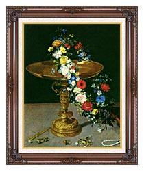 Jan Brueghel The Elder Gold Cup With Flower Wreath And Jewel Box Portrait Detail canvas with dark regal wood frame