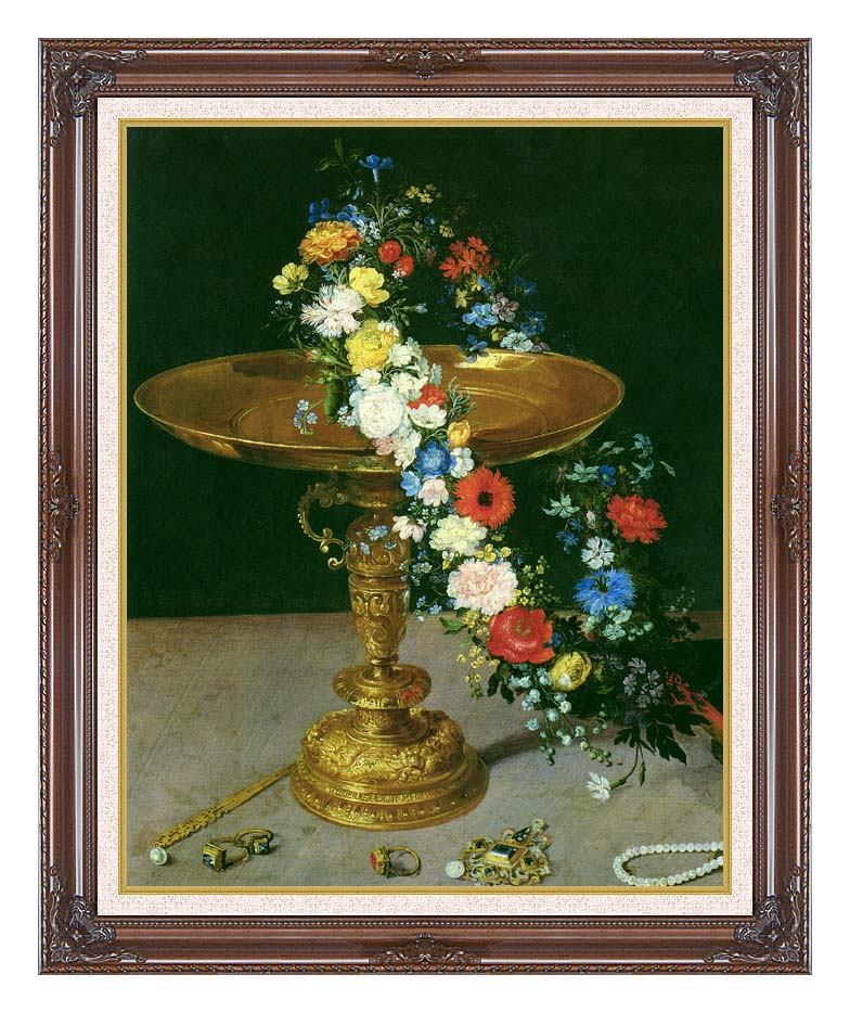 Jan Brueghel the Elder Gold Cup with Flower Wreath and Jewel Box (portrait detail) with Dark Regal Frame w/Liner