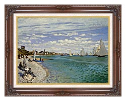Claude Monet Regatta At Sainte Adresse canvas with dark regal wood frame