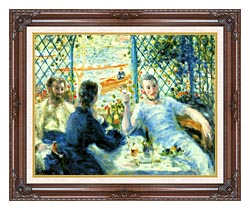 Pierre Auguste Renoir The Canoeists Luncheon canvas with dark regal wood frame