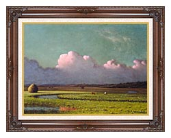 Martin Johnson Heade Sunlight And Shadow The Newbury Marshes Detail canvas with dark regal wood frame