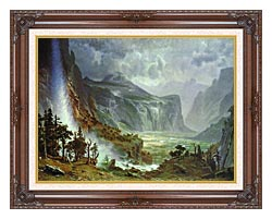 Albert Bierstadt The Domes Of The Yosemite canvas with dark regal wood frame