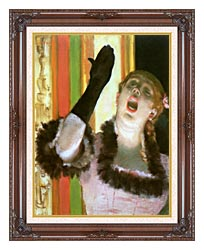 Edgar Degas Singer With A Glove canvas with dark regal wood frame